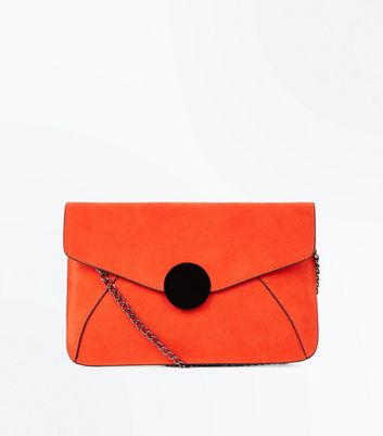 Bright Orange Faux Croc Disc Front Clutch