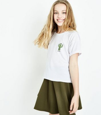 Teens White On Point Cactus Slogan T-Shirt