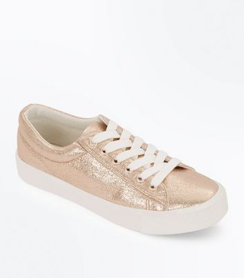 Teens Rose Gold Metallic Flatform Trainers