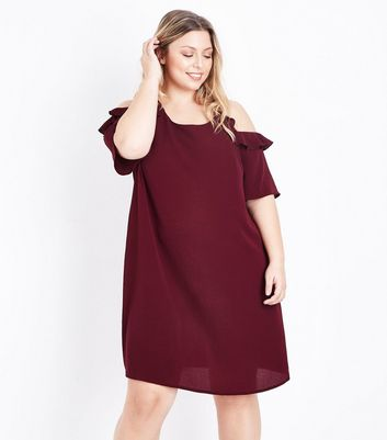 Curves Burgundy Frill Trim Cold Shoulder Dress