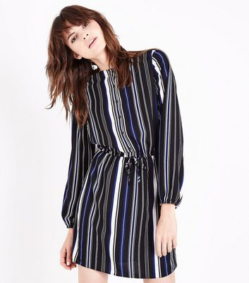 Black Stripe Balloon Sleeve Grandad Shirt Dress