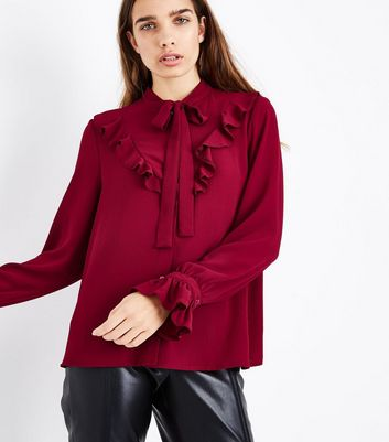 Cameo Rose Burgundy Pussybow Blouse