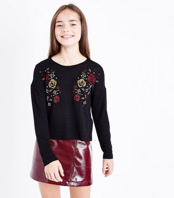 Teens Black Floral Cross Stitch Embroidered Jumper