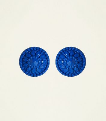 Bright Blue Oversized Coated Stud Earrings