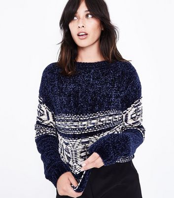 Cameo Rose Navy Chenille Fairisle Design Jumper