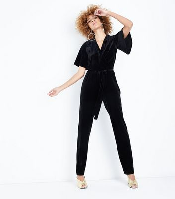Tall Black Velvet Wrap Front Jumpsuit