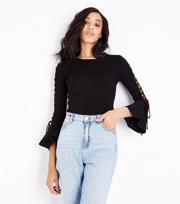 Cameo Rose Black Lattice Bell Sleeve Jumper