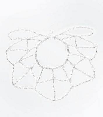 Silver Diamante Embellished Cape Necklace