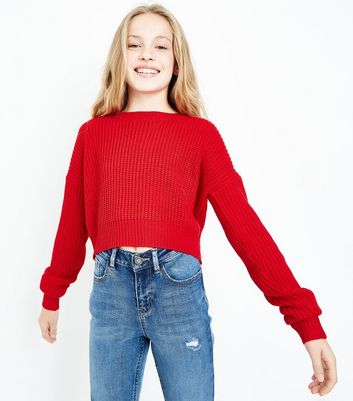 Teens Red Oversized Cropped Jumper