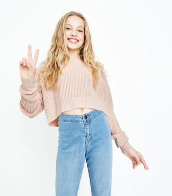 Teens Shell Pink Oversized Cropped Jumper