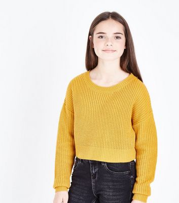Ados - Pull court oversize moutarde
