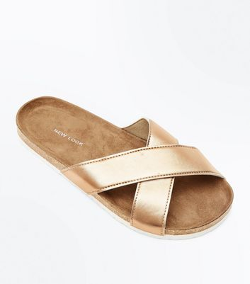 Rose Gold Cross Strap Sliders