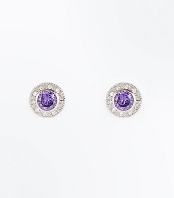 Lilac Cubic Zirconia Stud Earrings