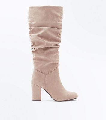 Brown Suedette Heeled Slouch Knee High Boots