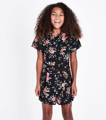 Teens Black Floral Embroidered Cut Out Trim Playsuit