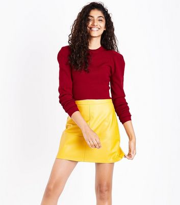 Cameo Rose Red Puff Sleeve Jumper