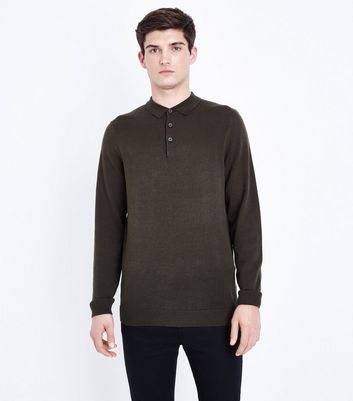 Khaki Long Sleeve Polo Neck Shirt