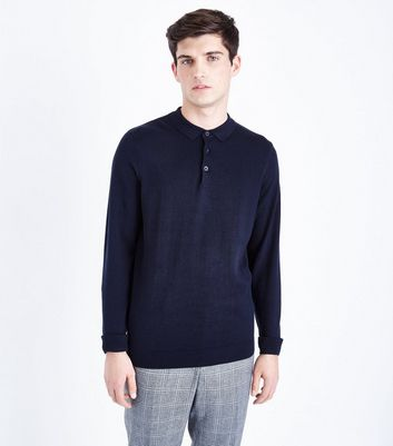 Navy Long Sleeve Polo Neck Shirt