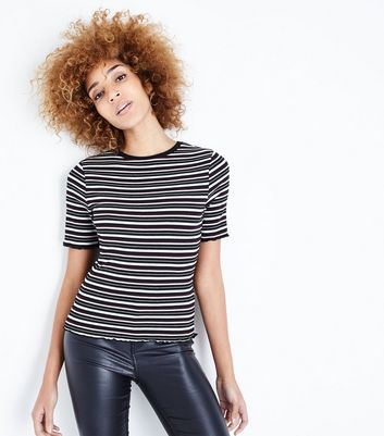 Black Stripe Frill Edge T-Shirt
