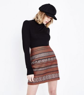 Rust Metallic Jacquard Mini Skirt