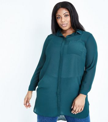 Curves Dark Green Longline Chiffon Shirt