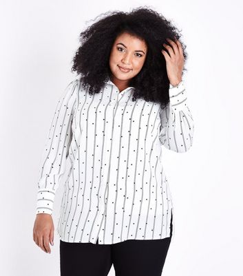 Curves White Polka Dot and Stripe Print Shirt