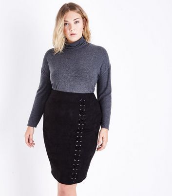 Curves Black Suedette Lace Up Pencil Skirt