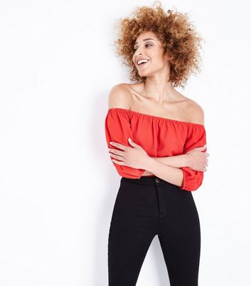 Cameo Rose Red Balloon Sleeve Crop Top
