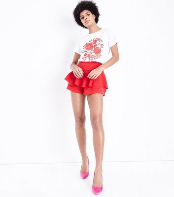 Cameo Rose Red Frill Skort