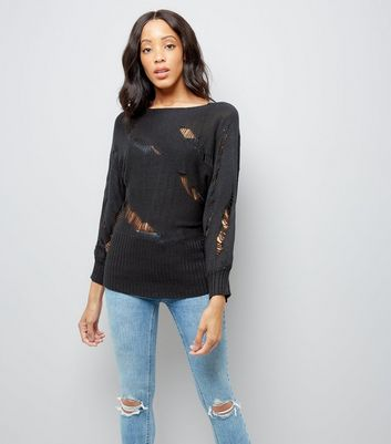 Apricot Black Ladder Knit Batwing Sleeve Jumper