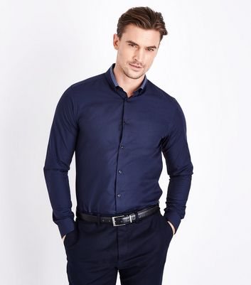 Navy Double Collar Trim Shirt