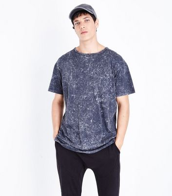 Dark Grey Washed Longline T-Shirt