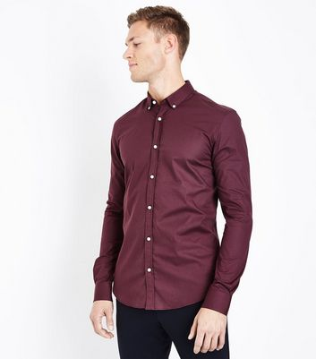 Burgundy Muscle Fit Stretch Shirt