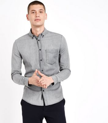 Dark Grey Denim Muscle Fit Stretch Shirt