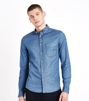 Blue Denim Muscle Fit Stretch Shirt