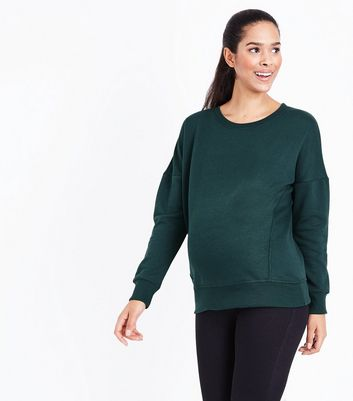 Maternity Green Round Neck Sweatshirt