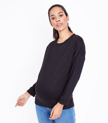 Maternity Black Round Neck Sweatshirt