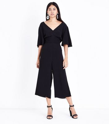Petite Black Wide Sleeve Culotte Jumpsuit