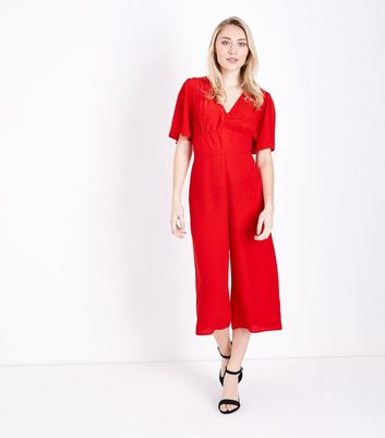 Petite Red Angel Sleeve Culotte Jumpsuit