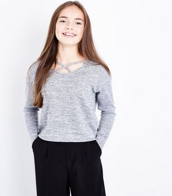 Teens Grey Lattice Neck Fine Knit Top