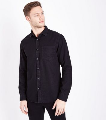 Dark Grey Long Sleeve Denim Shirt