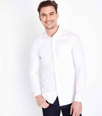 White Muscle Fit Stretch Oxford Shirt