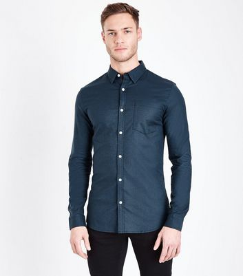 Navy Muscle Fit Stretch Oxford Shirt
