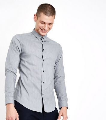 Pale Grey Muscle Fit Stretch Shirt by New Look