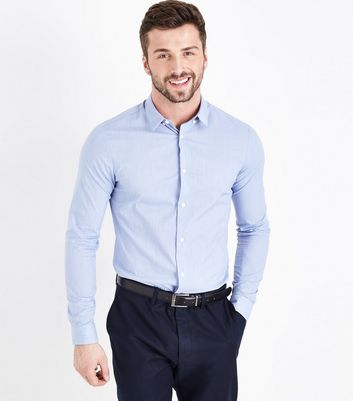 Pale Blue Muscle Fit Stretch Shirt