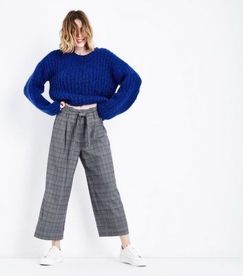 Grey Check Paperbag Cropped Trousers