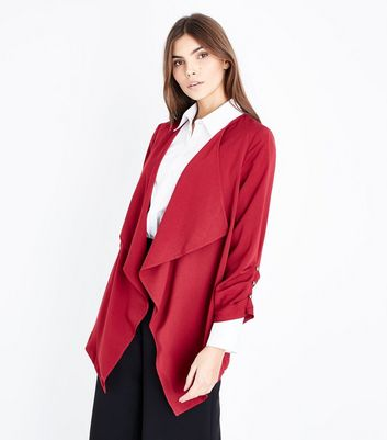 Tall Burgundy Button Sleeve Waterfall Blazer