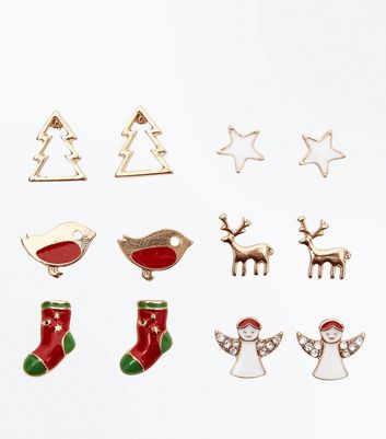 6 Pack Novelty Stud Christmas Earrings
