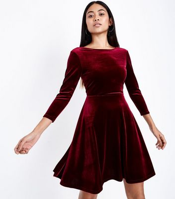 Petite Burgundy Velvet Skater Dress