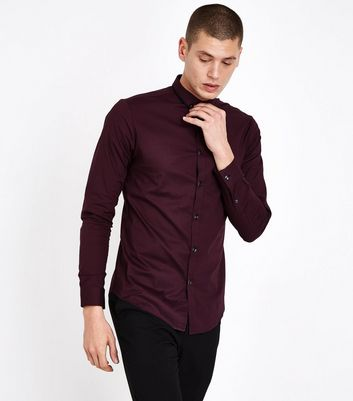 Burgundy Double Collar Trim Muscle Fit Shirt